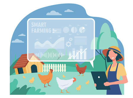 Happy female farmer working with smart farm flat vector illustration. Cartoon woman farming and analyzing data on feeding poultry. Automation and implementation technology concept