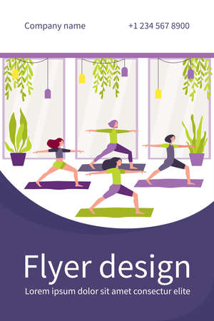 Women exercising in fitness club, attending yoga class, standing in warrior pose on mat. Flat vector illustration for physical activity, gymnastics, lifestyle concept