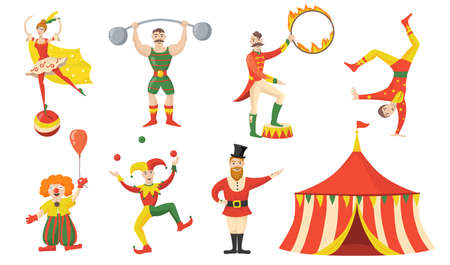 Cheerful circus character and performers flat set for web design. Cartoon acrobat, clown, juggler strongman isolated vector illustration collection. Carnival and circus arena concept