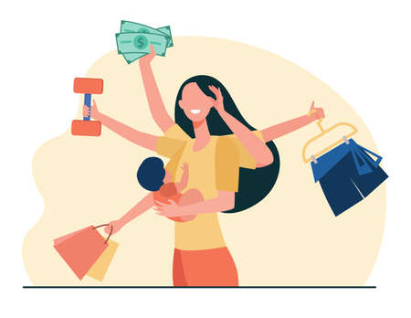 Mom practicing multitasking. Woman holding baby, carrying shopping bags, lifting weight flat vector illustration. Busy mother, motherhood concept for banner, website design or landing web page