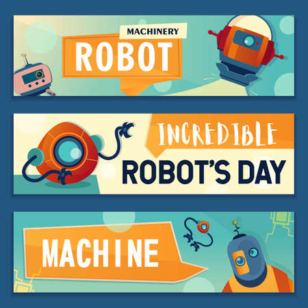 Robotic characters banners set. Robots, cyborgs, electronic assistants vector illustrations with text. Robotics and machinery concept for flyers and brochures design