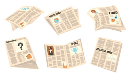 Front pages set. Newspapers with headlines, articles and pictures, sport, business, world news. Vector illustrations for press, publication, tabloid concept