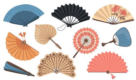 Hand fans set. Chinese and Japanese paper fans, vintage Asian accessories. Vector illustrations for fashion, original decoration, oriental culture concept Vektorgrafik