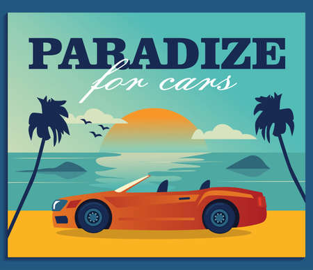 Promotional background design with sea and cabriolet. Paradise for cars advertisement. Transport and transportation concept. Template for promotional or invitation web page Ilustracja