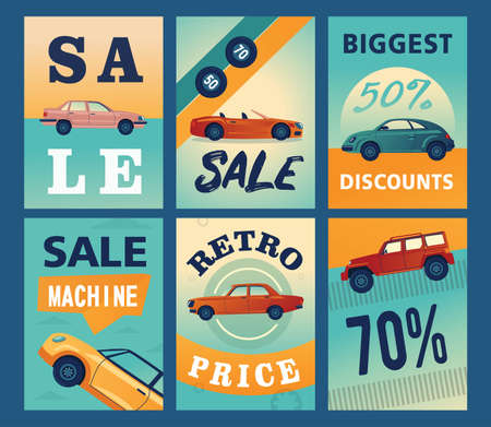 Sale brochure designs with different cars. Modern automobiles on colorful background. Transport and transportation concept. Template for promotional leaflet or flyer