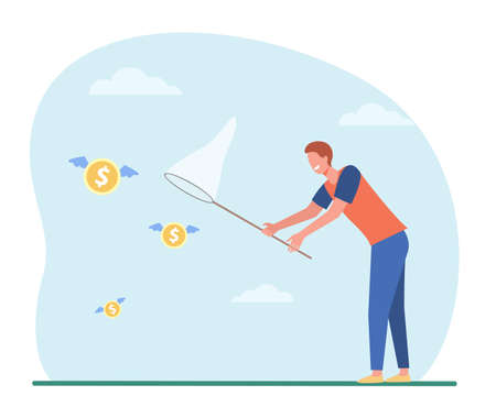 Man catching flying money with butterfly net. Cash, coin, hunt flat vector illustration. Finance, money, opportunity concept for banner, website design or landing web page