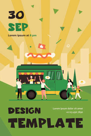People visiting street food festival and buying snacks in trucks. Flat vector illustration for fair, summer event, market, vendors concept