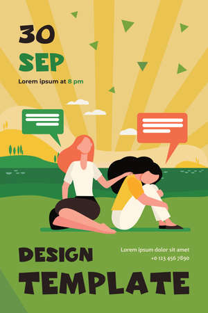 Friend talking and consoling sad woman. Nature, speech bubble, support flat vector illustration. Depression and melancholy concept for banner, website design or landing web page