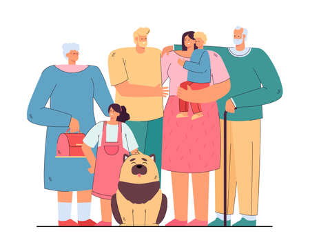 Loving happy big family standing together isolated flat vector illustration. Cartoon mother, father, grandpa, grandma, children and dog. Generation and relationship concept