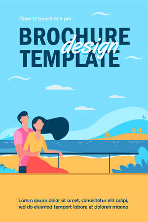 Dating couple enjoying vacation by sea. Man and woman hugging on beach flat vector illustration. Tourism, leisure, summer concept for banner, website design or landing web page