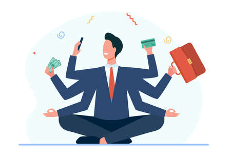 Businessman with many arms. Man holding briefcase, credit card, cash, making zen gesture. Flat vector illustration. Multitasking, efficiency concept for banner, website design or landing web page