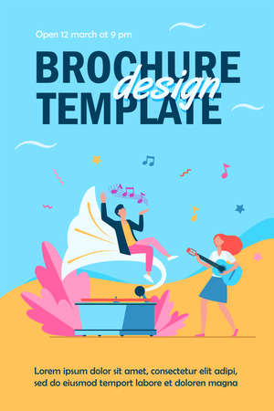 Guy listening to music at retro gramophone. Girl playing guitar and singing flat vector illustration. Entertainment, performing, leisure concept for banner, website design or landing web page Ilustração
