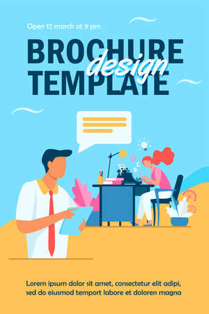 Female writer typing new text for editor. Article, book, idea flat vector illustration. Typography and work concept for banner, website design or landing web page Ilustração