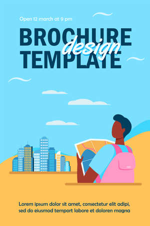 Black traveler holding map and standing in city. Skyscraper, route, adventure flat vector illustration. Travel and cityscape concept for banner, website design or landing web page