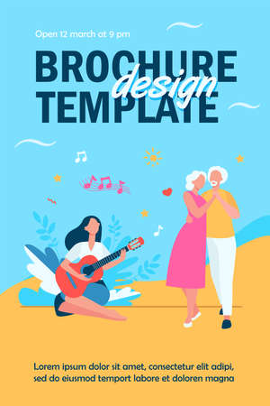 Senior couple dancing at family party. Young woman playing guitar, granddaughter applauding flat vector illustration. Family meeting concept for banner, website design or landing web page