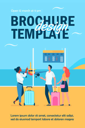 Young people waiting in airport for plane. Flight, airplane, baggage flat vector illustration. Travel, trip and vacation concept for banner, website design or landing web page Ilustração