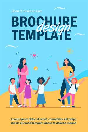 Classmates meeting at school. Mom leading son, group of school children with teacher flat vector illustration. Childhood, back to school concept for banner, website design or landing web page Ilustração