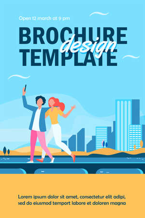 Young couple taking selfie on bridge with cityscape. Tourist, smartphone, sea flat vector illustration. Vacation and travel concept for banner, website design or landing web page