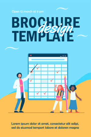 Teacher explaining lesson to pupils. Schoolgirls, man with pointer, matrix blackboard flat vector illustration. Education, school, studying concept for banner, website design or landing web page Ilustração