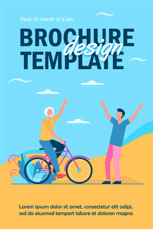 Active senior and young men meeting outdoors. Riding bike, father and son flat vector illustration. Lifestyle, relationship, activity concept for banner, website design or landing web page Ilustração