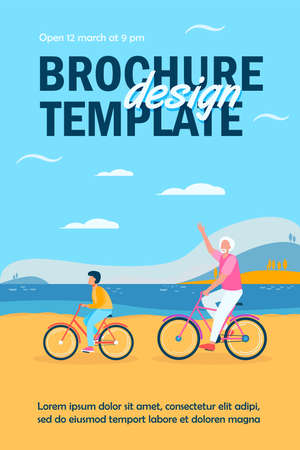 Active grandfather and grandson riding bikes together. Old man and boy cycling outdoors flat vector illustration. Lifestyle, activity, family concept for banner, website design or landing web page Ilustração
