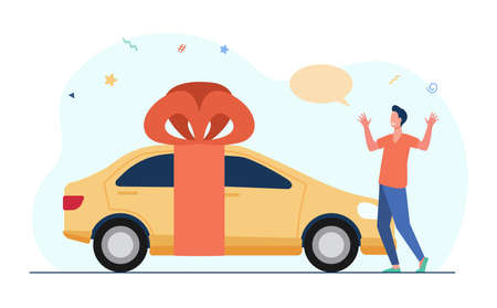 Surprised young man getting car as gift. Yellow vehicle, red ribbon, bow. Flat vector illustration. Prize drawing, present, automobile concept for banner, website design or landing web page