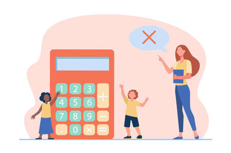 Math teacher forbidding to use calculator. Teaching, prohibition sign in speech bubble, kids. Flat vector illustration. Education, studying concept for banner, website design or landing web page