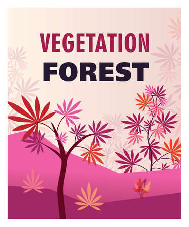 Colorful background design for vegetation forest. Stylized pink marihuana bushes and plants. Hemp plantation and legal drug concept. Template for promotional or invitation web page