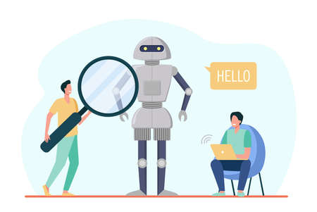 Engineers creating robot. Humanoid speaking Hello, men with laptop and magnifier. Flat vector illustration. Robotics, engineering, innovation concept for banner, website design or landing web page Ilustração