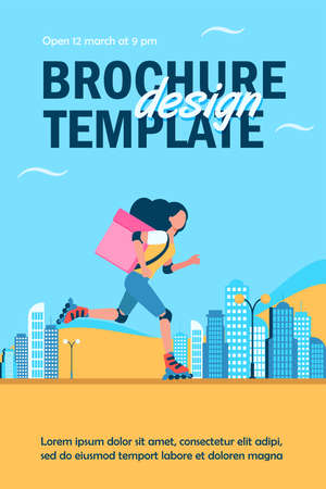 Young female courier on roller delivering food. Box, speed, parcel flat vector illustration. Delivery service and urban lifestyle concept for banner, website design or landing web page