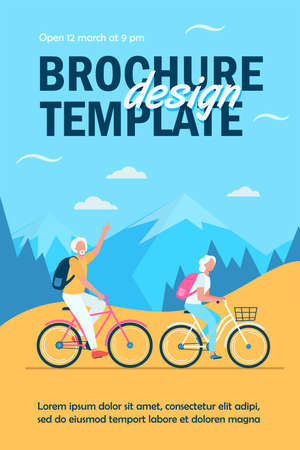 Senior couple riding bikes outdoors. Old man and woman cycling in mountains flat vector illustration. Active lifestyle, leisure, activity concept for banner, website design or landing web page