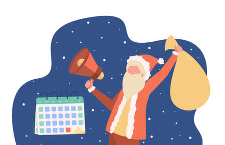 Santa Clause celebrating Christmas. Holding megaphone, bag of gifts, calendar. Flat vector illustration. Xmas Eve, celebration, presents concept for banner, website design or landing web page Ilustração