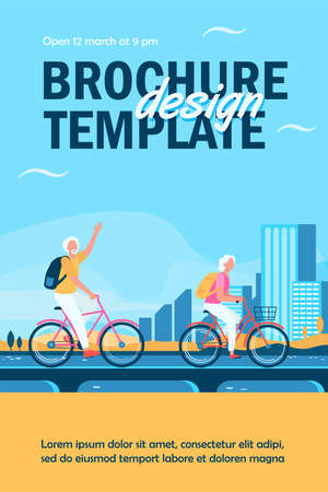 Senior couple riding bikes. Old man and woman cycling on city flat vector illustration. Active lifestyle, leisure, activity concept for banner, website design or landing web page Ilustração