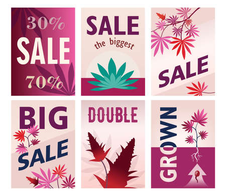 Creative big sale brochure designs for ganja store. Modern pink posters with cannabis leaves and cones. Hemp shop and legal natural drug concept. Template for leaflet, banner or flyer Ilustração