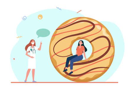 Doctor recommending to restrict junk food. Nutritionist, donut, pastry, sweet. Flat vector illustration. Unhealthy eating, diet, health problem concept for banner, website design or landing web page Ilustração