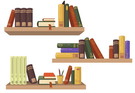 Three wooden bookshelves with various books flat set for web design. Cartoon shelves for wall in bookstore isolated vector illustration collection. Education and reading concept