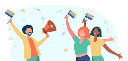 Gay people celebrating pride. Happy man and woman holding rainbow flags and speaker. Flat vector illustration. Parade, homosexuality, community concept for banner, website design or landing web page