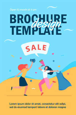 Girls celebrating sale in fashion store. Women dancing, announcing sale, buying clothes flat vector illustration. Shopping, discount, marketing concept for banner, website design or landing web page Ilustração