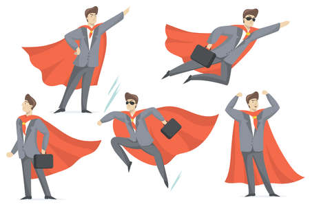 Experienced businessman in superhero costume flat set for web design. Cartoon super boss in suit in various poses isolated vector illustration collection. Business and management concept
