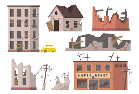 Abandoned houses set. Old ruined city buildings, apartment houses and supermarkets debris, torn power lines. Vector illustrations collection for disaster, collapse, earthquake concept
