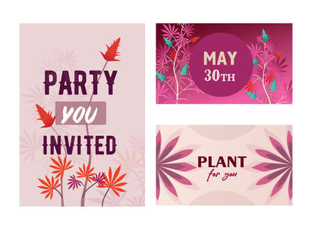 Vivid pink hemp party invitation designs with growing plant. Stylish holiday invitations with marijuana leaves and buses. Celebration and legal drug concept. Template for leaflet, banner or flyer