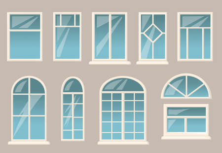 Various windows set. Different frames and glasses on gray building wall background. Vector illustrations collection for interior or exterior design, architecture concept