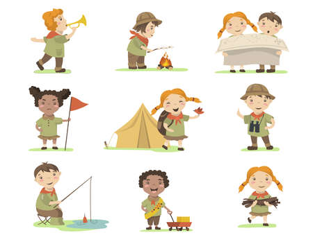 Happy children in scout costumes flat set for web design. Cartoon girls and boys camping on nature isolated vector illustration collection. Hiking and adventure concept