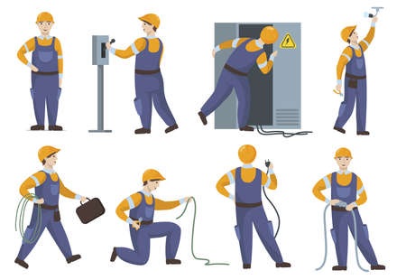 Professional electrician in uniform repairing electric elements flat set. Cartoon technician checking light and cable isolated vector illustration collection. Repair service and construction concept Ilustração