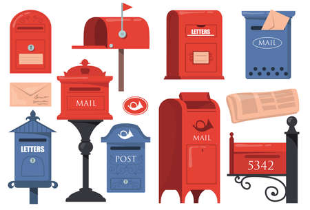 Traditional English letterboxes set. Red and blue vintage mailboxes, old postboxes with letters isolated on white background. Vector illustrations collection for London, mail, post concept