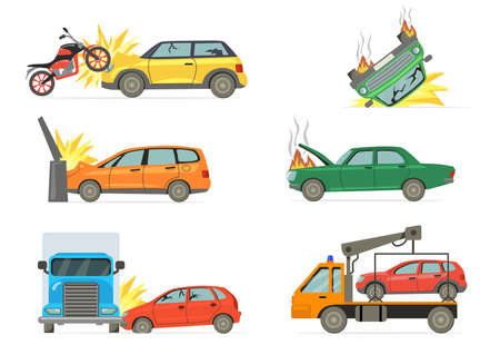 Car crashes set. Road accident with burning car, motorbike, truck, towel truck isolated on white background. Vector illustrations collection for transportation, disaster, traffic collision concept