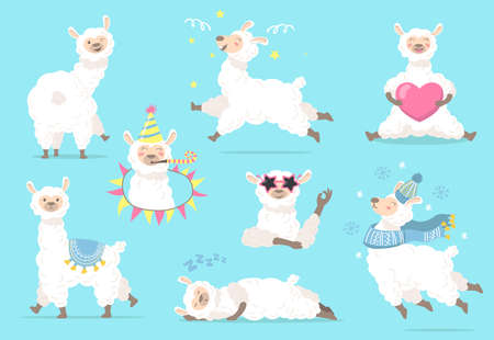 Funny lama in different poses flat item set. Cartoon cute llama or alpaca character sleeping, running, standing isolated vector illustration collection. Animals and graphic design concept Ilustração