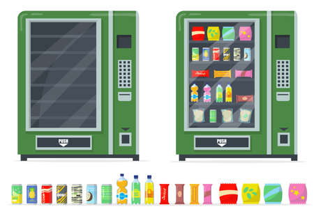 Vending machines and snacks set. Chips, bars, canned drinks and automate with empty shelves. Vector illustrations collection for fast food, automatic retailer concept