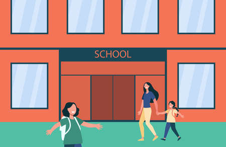 Smiling kids going to school with backpacks. Elementary, parent, children flat vector illustration. Education and study concept for banner, website design or landing web page