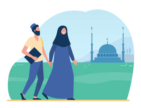 Muslim people going to mosque. Islam, hijab, worship flat vector illustration. Religion and tradition concept for banner, website design or landing web page